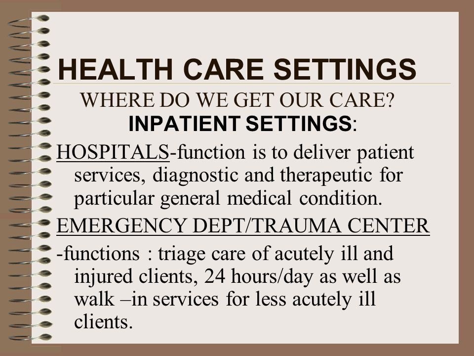 HEALTH CARE SETTINGS WHERE DO WE GET OUR CARE