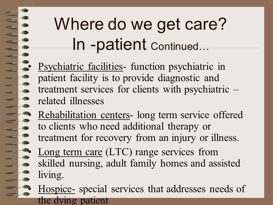 Where do we get care In -patient Continued…