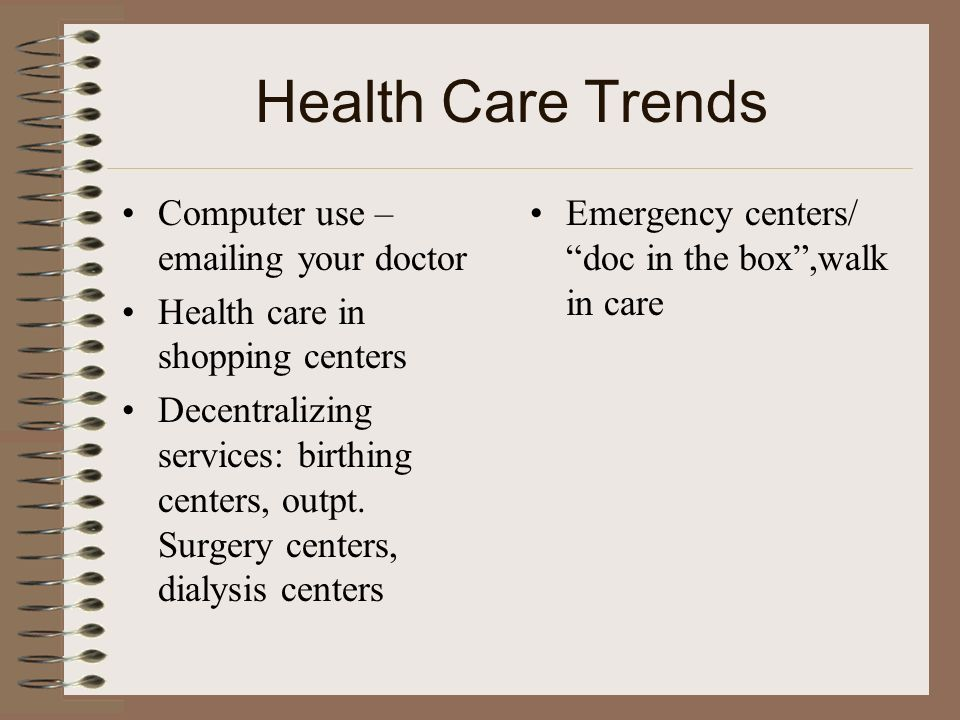 Health Care Trends Computer use –emailing your doctor