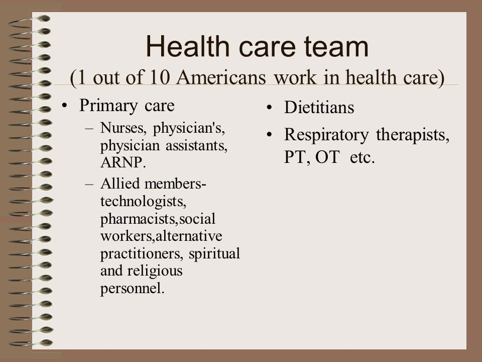 Health care team (1 out of 10 Americans work in health care)