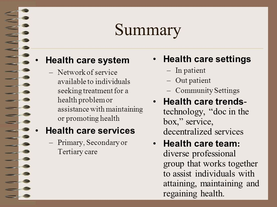Summary Health care system Health care services Health care settings