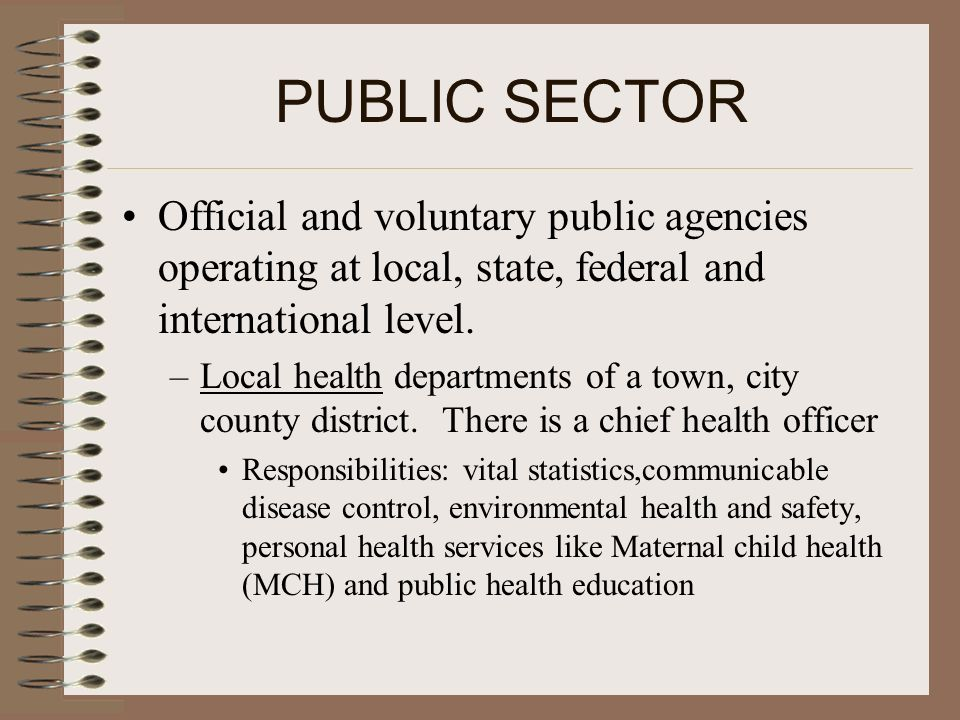 PUBLIC SECTOR Official and voluntary public agencies operating at local, state, federal and international level.