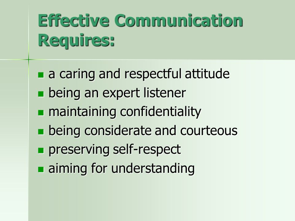 Effective Communication Requires: