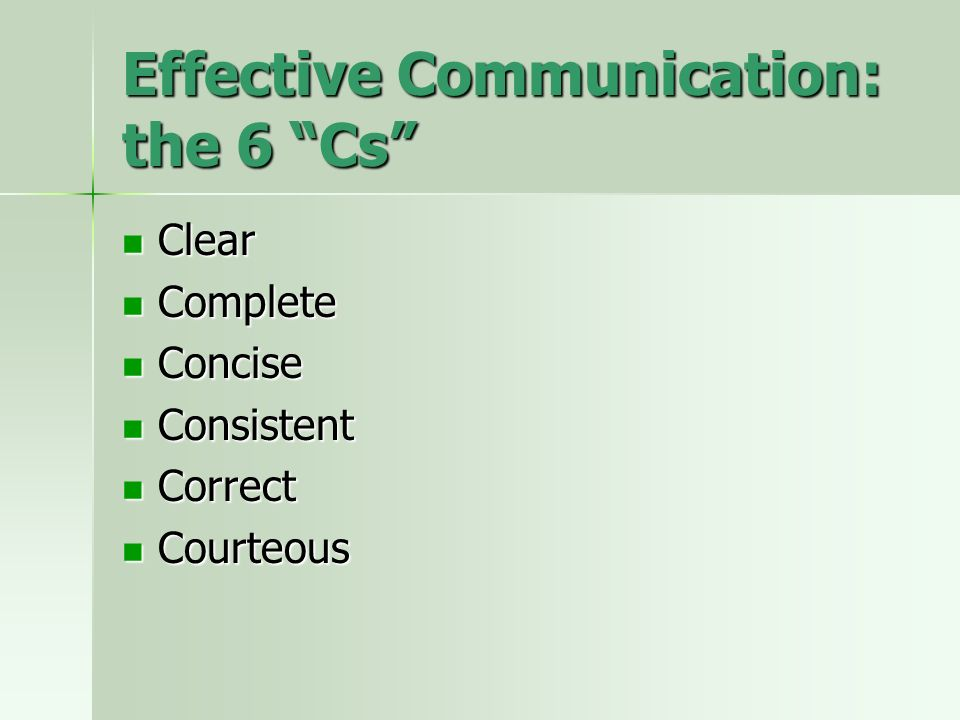Effective Communication: the 6 Cs