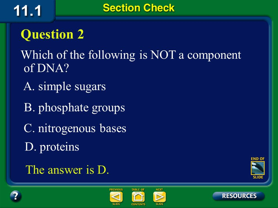 Question 2 Which of the following is NOT a component of DNA