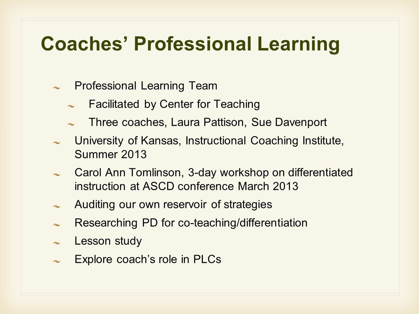 Coaches' Professional Learning