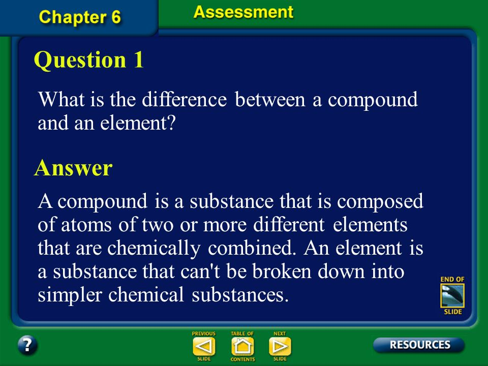 Question 1 What is the difference between a compound and an element Answer.