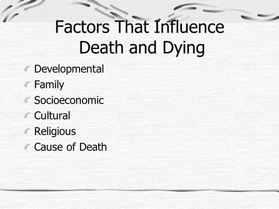Factors That Influence Death and Dying