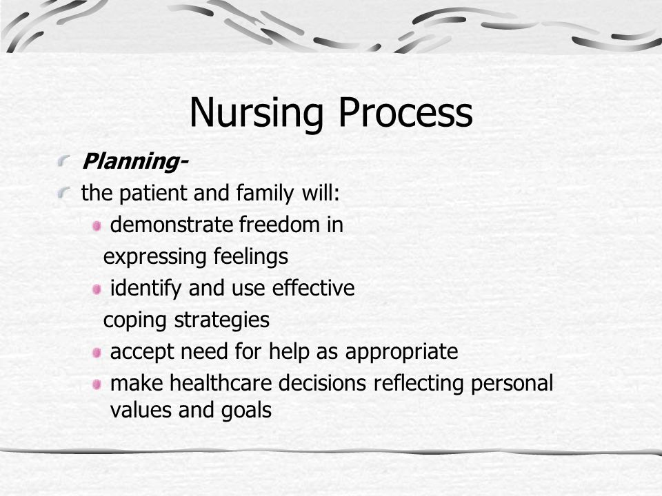 Nursing Process Planning- the patient and family will:
