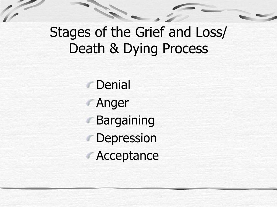 Stages of the Grief and Loss/ Death & Dying Process