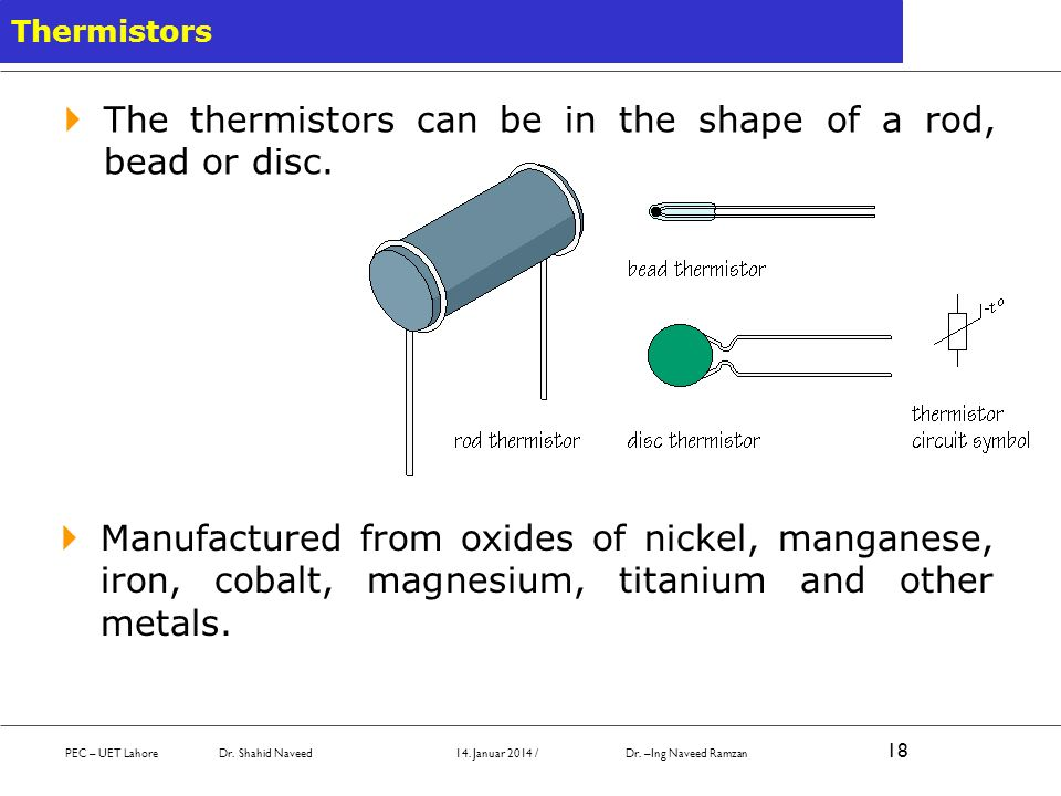 The thermistors can be in the shape of a rod, bead or disc.