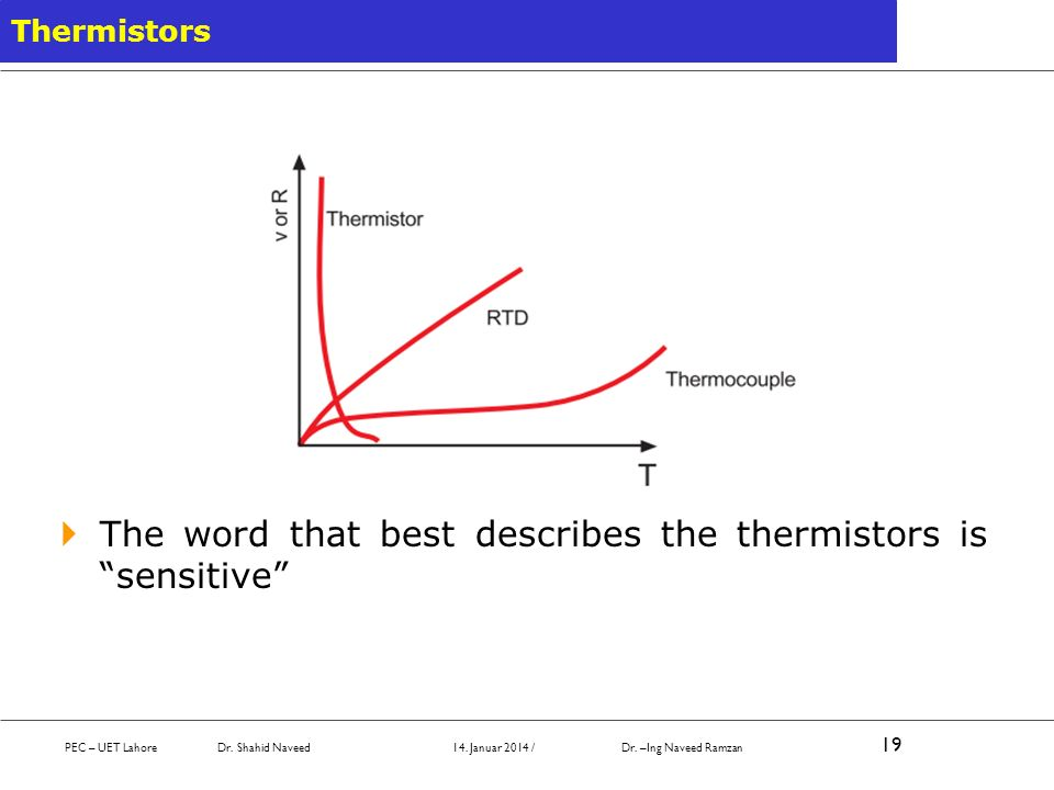 The word that best describes the thermistors is sensitive