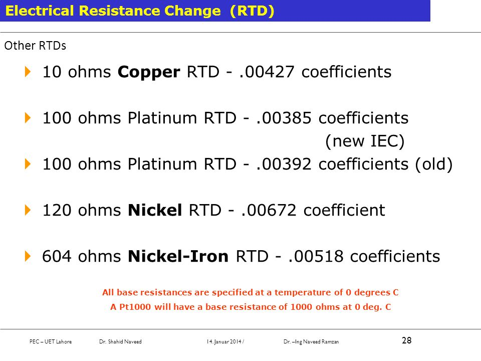 10 ohms Copper RTD - .00427 coefficients
