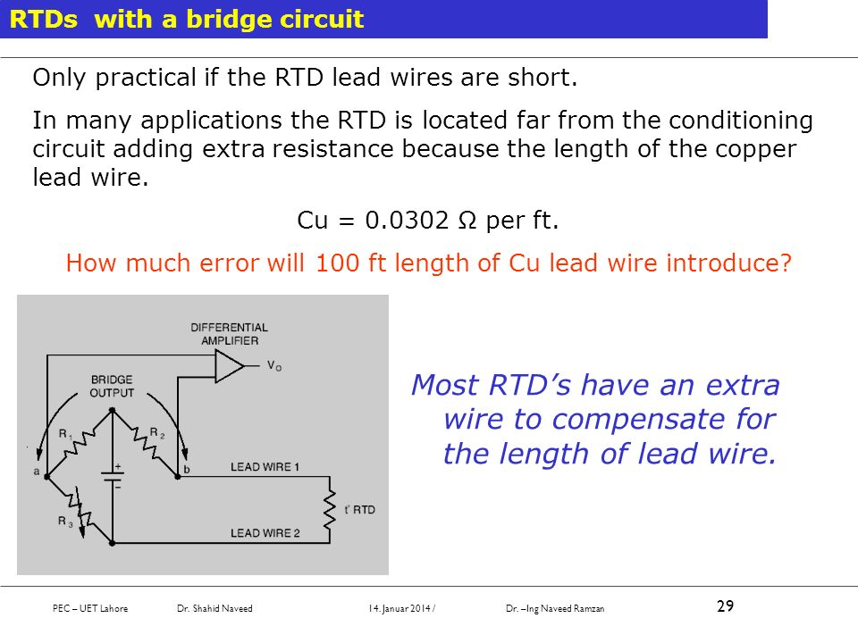 How much error will 100 ft length of Cu lead wire introduce