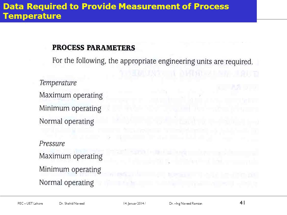 Data Required to Provide Measurement of Process Temperature