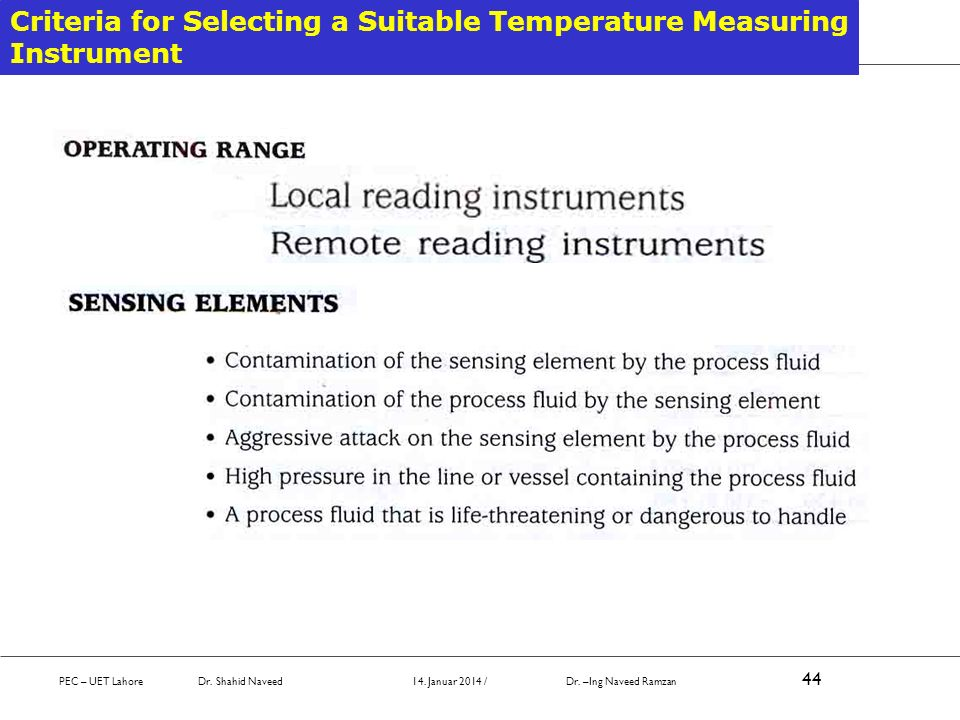 Criteria for Selecting a Suitable Temperature Measuring Instrument