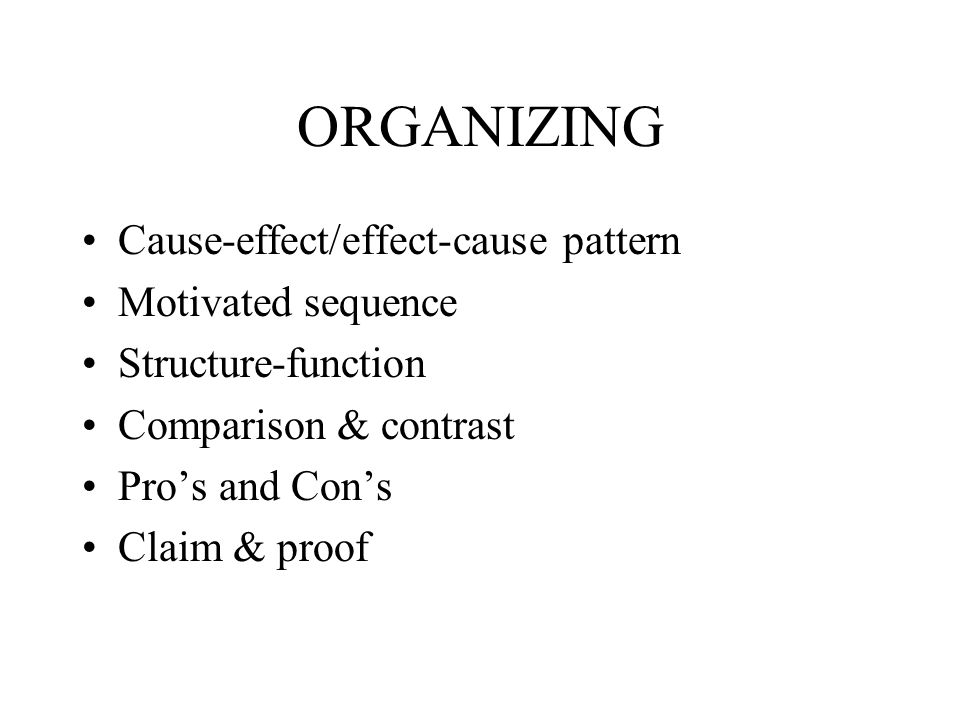 ORGANIZING Cause-effect/effect-cause pattern Motivated sequence