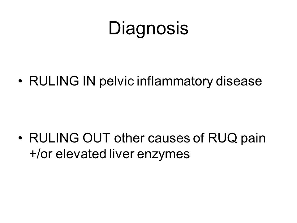 Diagnosis RULING IN pelvic inflammatory disease