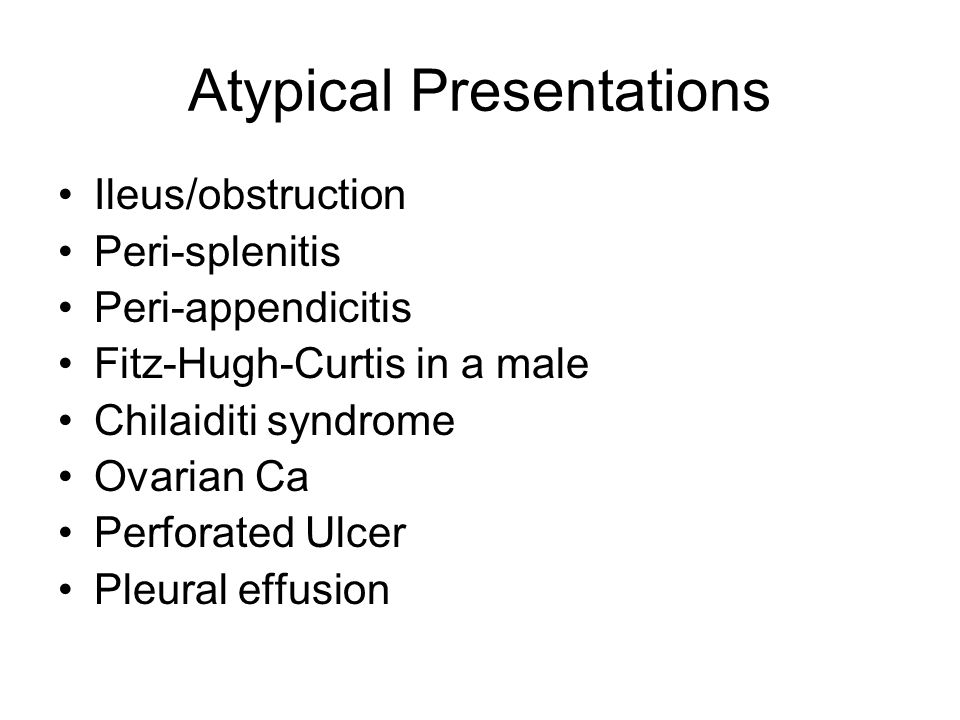 Atypical Presentations