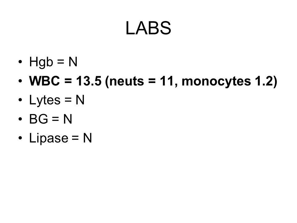 LABS Hgb = N WBC = 13.5 (neuts = 11, monocytes 1.2) Lytes = N BG = N