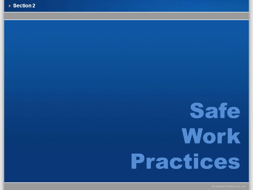 Safe Work Practices Section 2