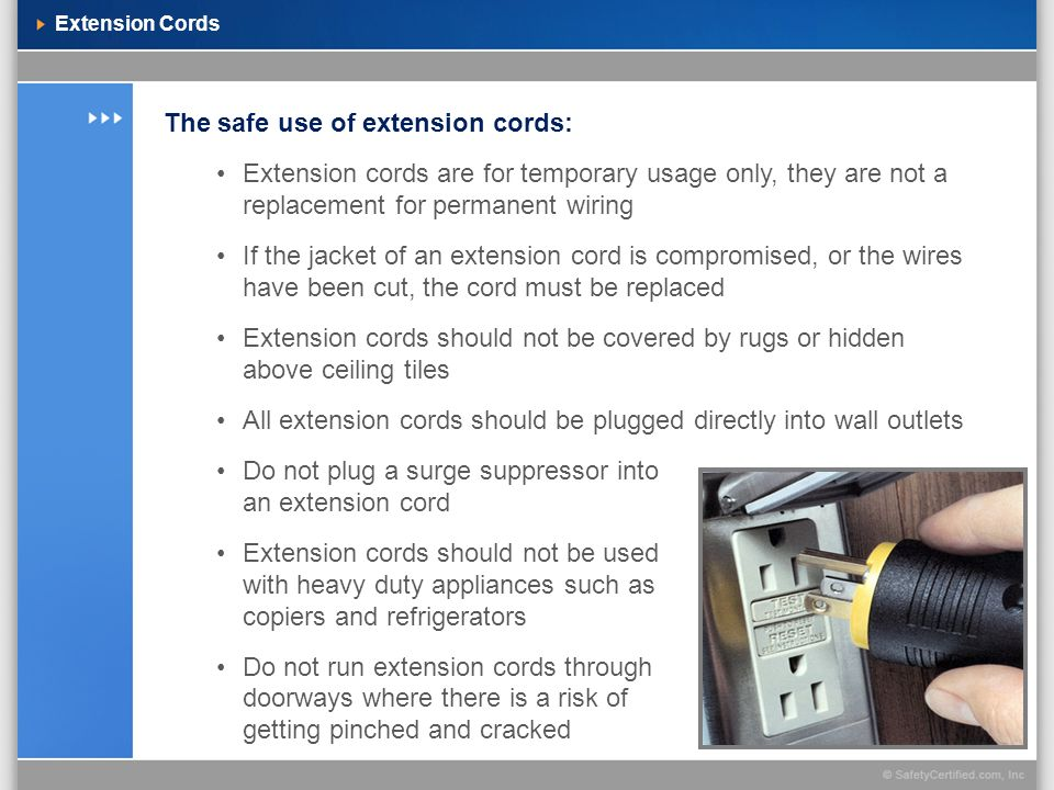 The safe use of extension cords: