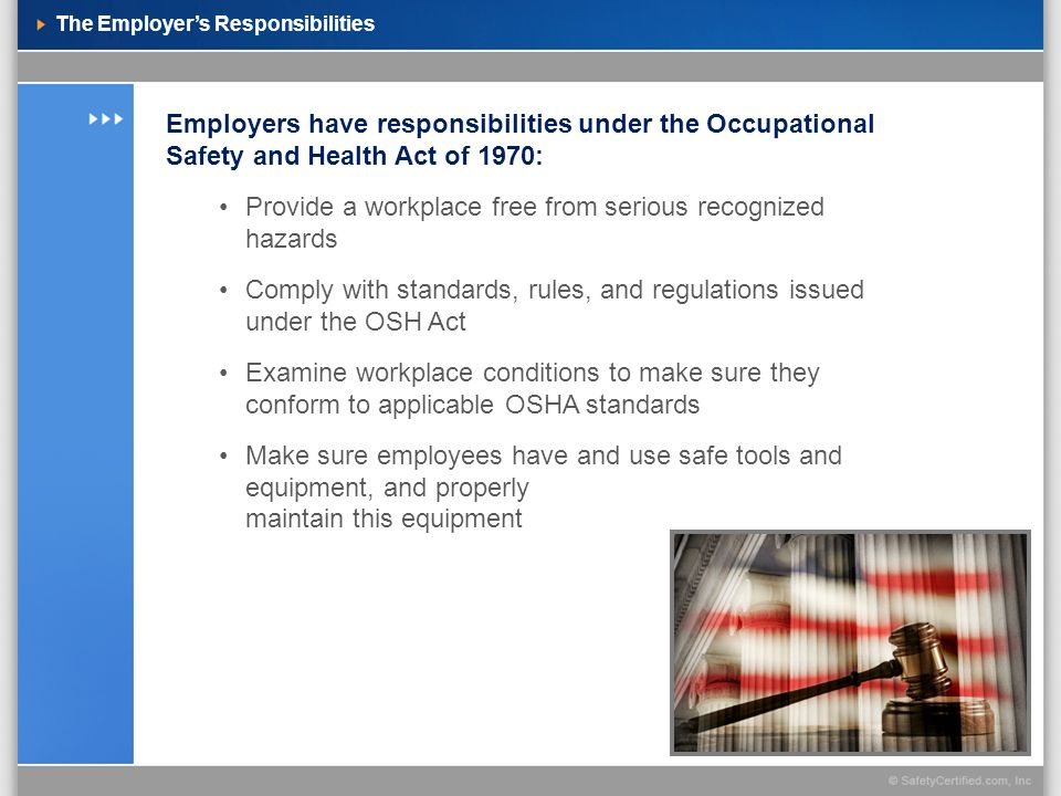 The Employer's Responsibilities