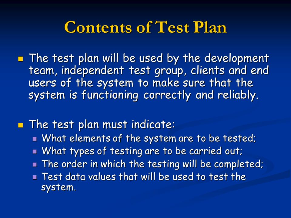 Contents of Test Plan
