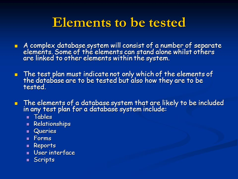 Elements to be tested