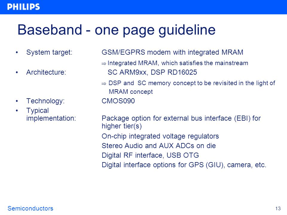Baseband - one page guideline