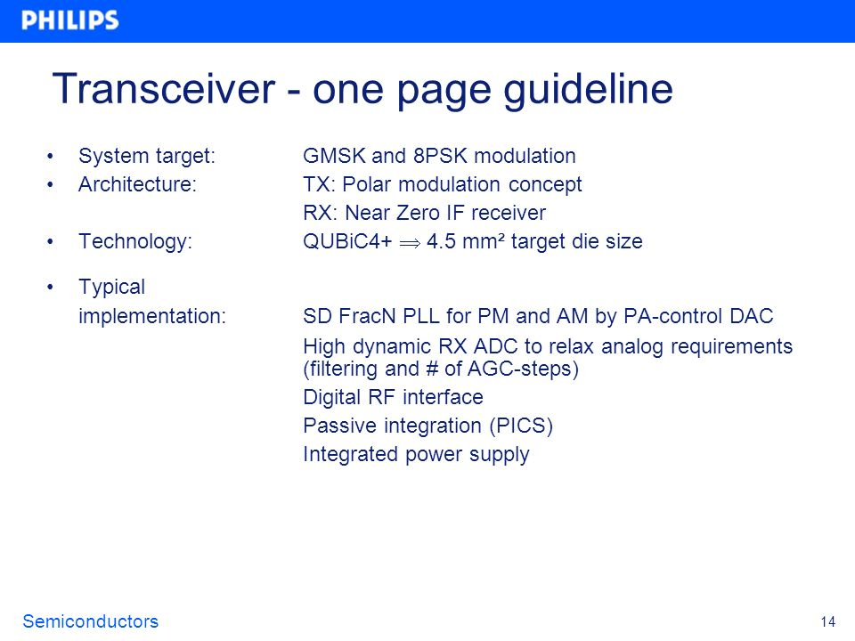 Transceiver - one page guideline