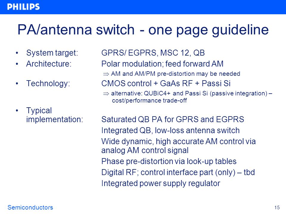 PA/antenna switch - one page guideline