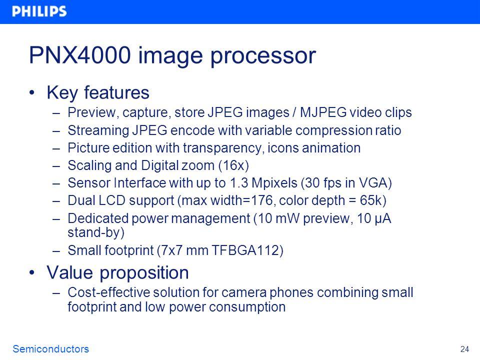 PNX4000 image processor Key features Value proposition