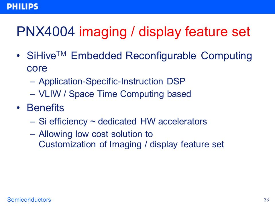PNX4004 imaging / display feature set
