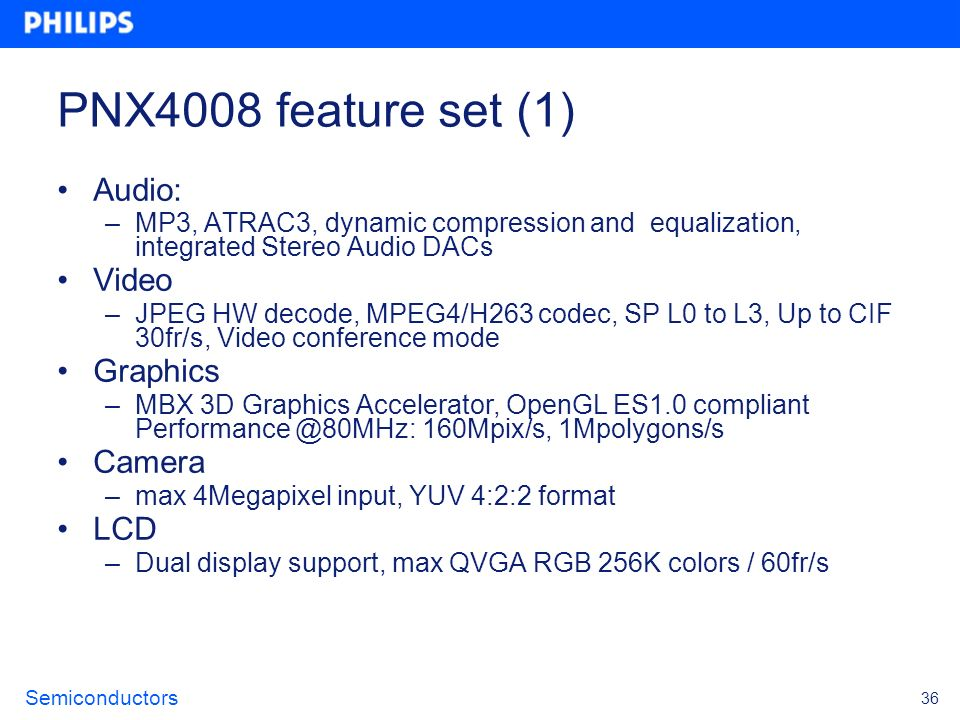 PNX4008 feature set (1) Audio: Video Graphics Camera LCD