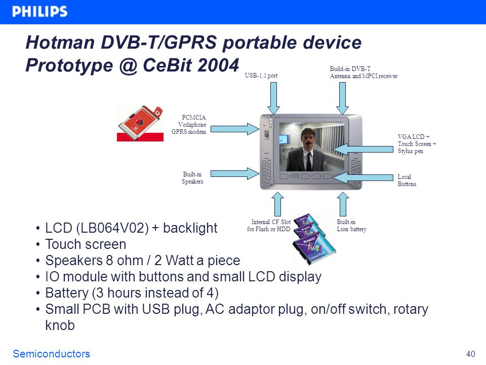 Hotman DVB-T/GPRS portable device Prototype @ CeBit 2004