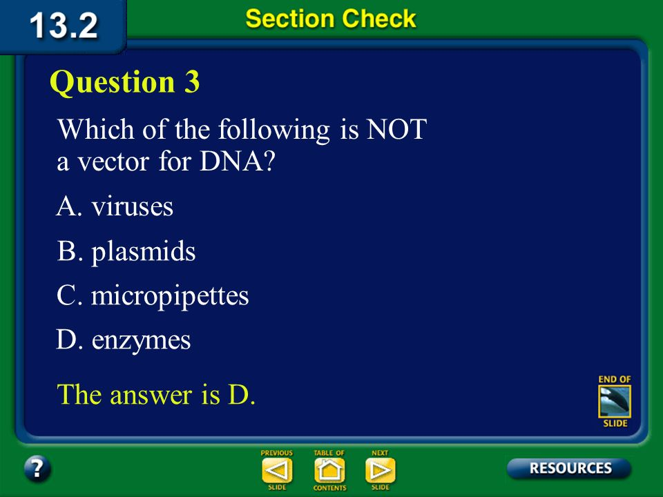 Question 3 Which of the following is NOT a vector for DNA A. viruses