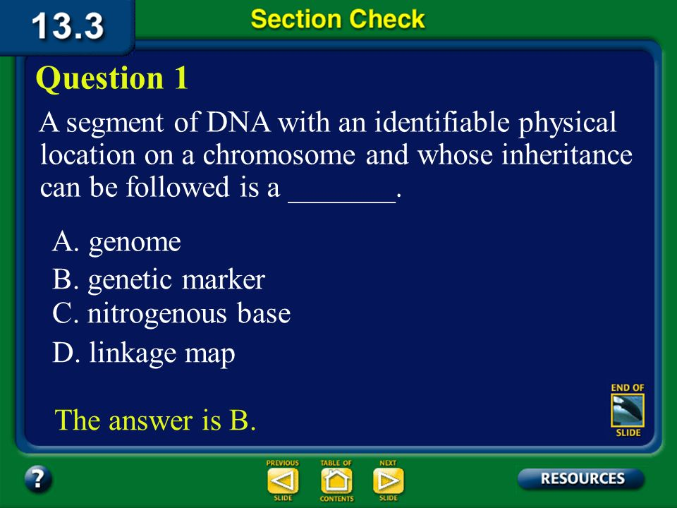 Question 1 A segment of DNA with an identifiable physical location on a chromosome and whose inheritance can be followed is a _______.