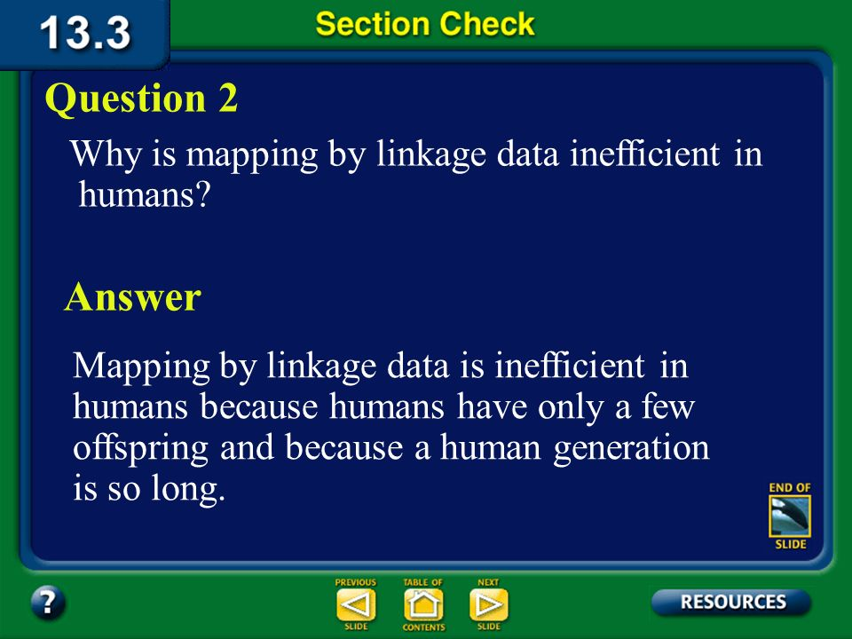 Question 2 Why is mapping by linkage data inefficient in humans Answer.