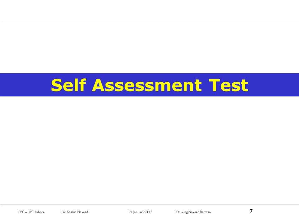 Self Assessment Test October 2008