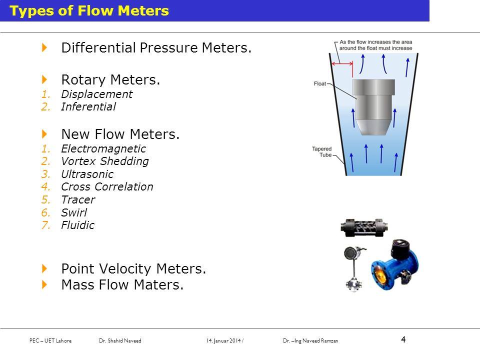 Differential Pressure Meters. Rotary Meters.