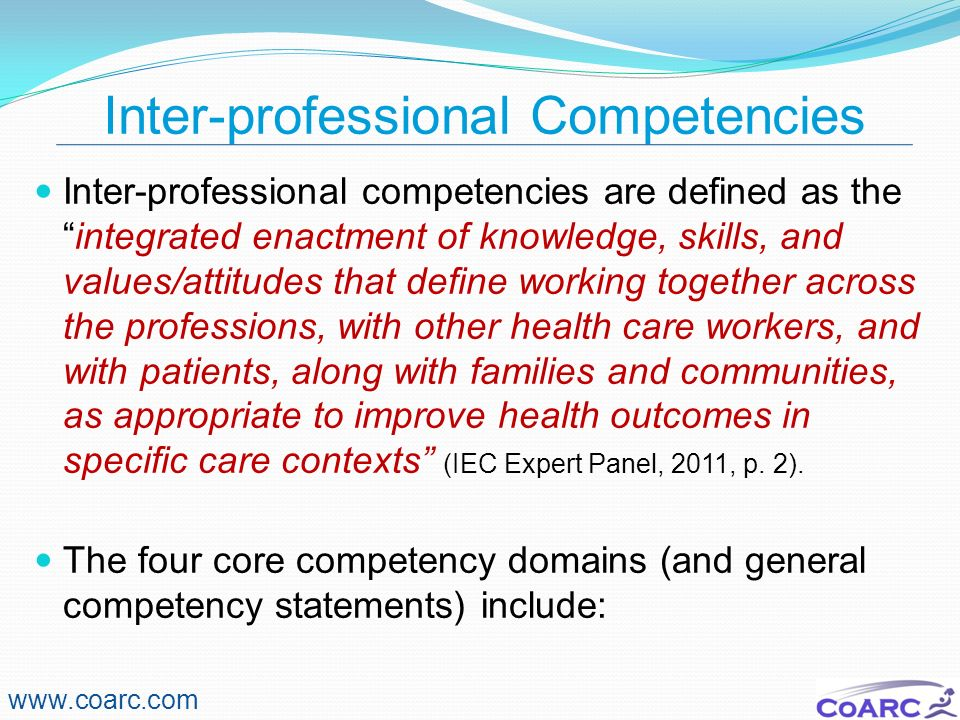 Inter-professional Competencies