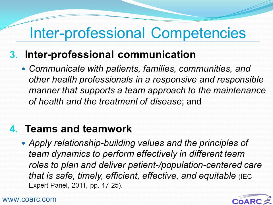 Inter-professional Competencies
