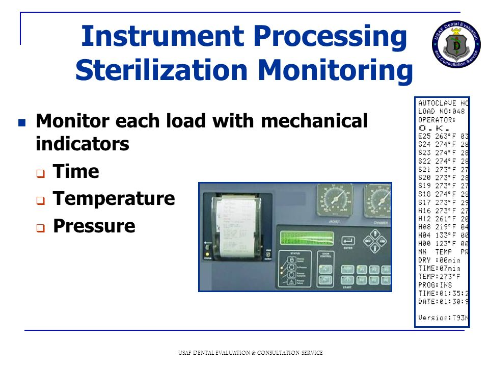 Instrument Processing Sterilization Monitoring