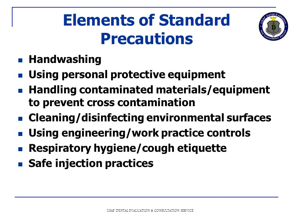 Elements of Standard Precautions