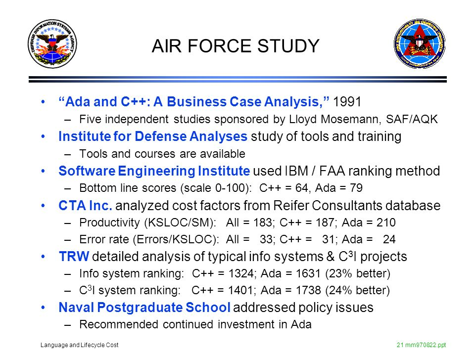 AIR FORCE STUDY Ada and C++: A Business Case Analysis, 1991