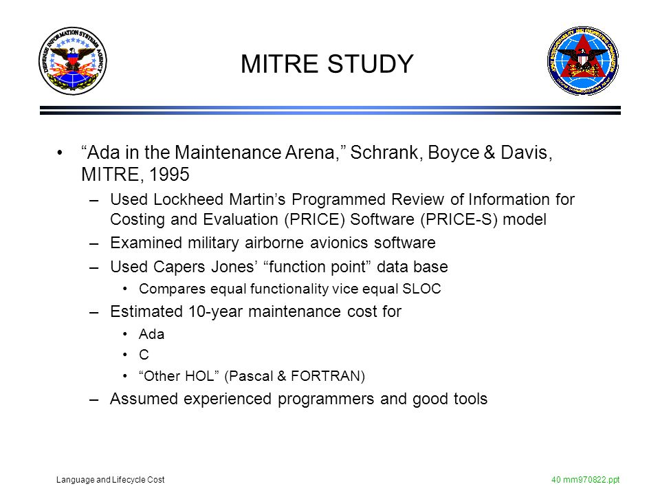 MITRE STUDY Ada in the Maintenance Arena, Schrank, Boyce & Davis, MITRE,