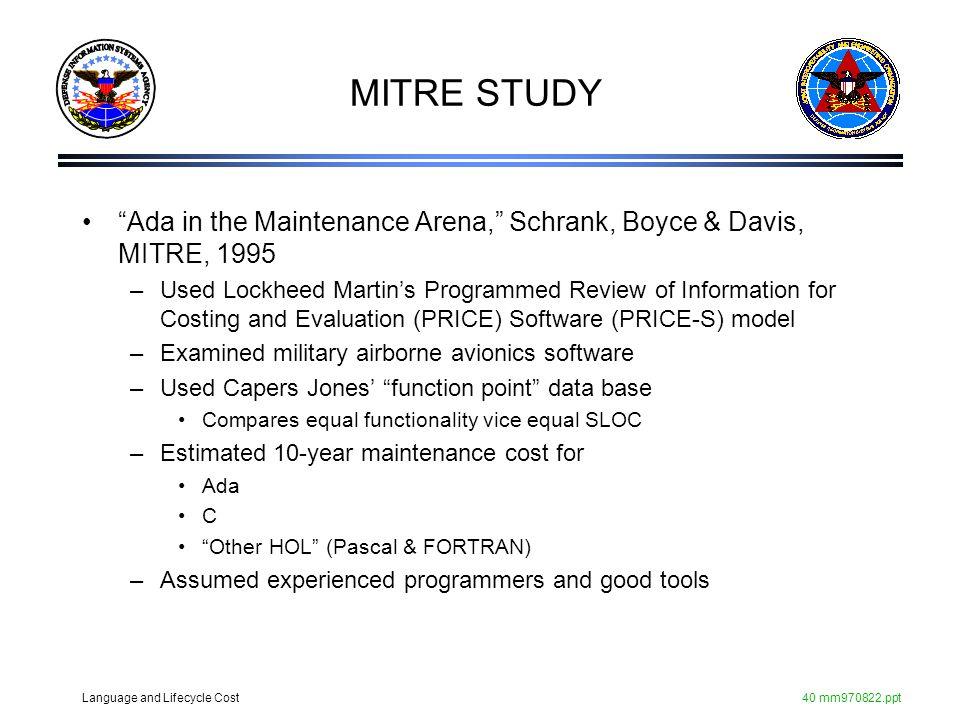 MITRE STUDY Ada in the Maintenance Arena, Schrank, Boyce & Davis, MITRE, 1995.