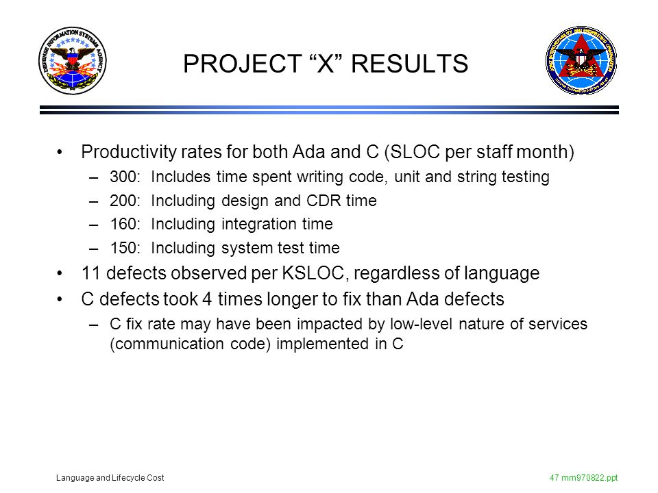 PROJECT X RESULTS Productivity rates for both Ada and C (SLOC per staff month) 300: Includes time spent writing code, unit and string testing.