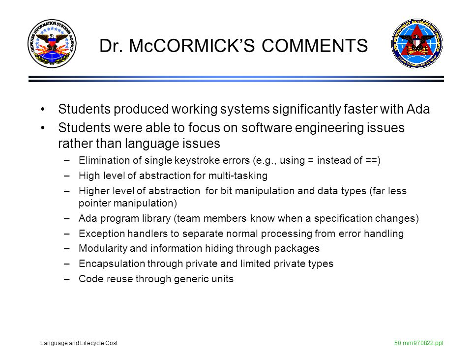 Dr. McCORMICK'S COMMENTS